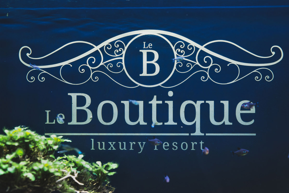 Il nostro acquario con il logo Le Boutique Luxury Resort